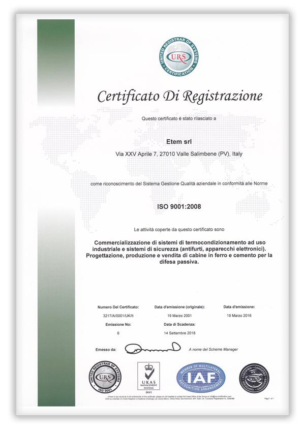 United Registar of Systems ISO 9001 - UKAS Management Systems 043