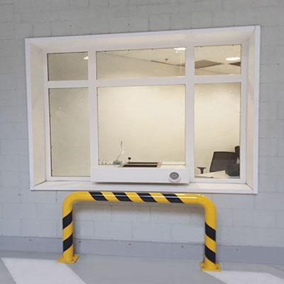 Ballistic windows with transfer tray