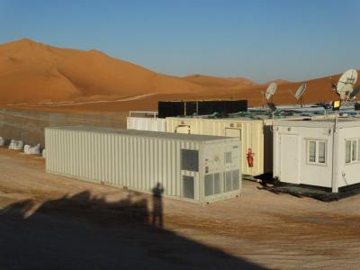 Anti-terrorism mobile shelter in an oil facility