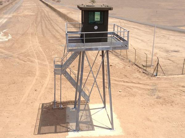 Guard towers for perimeter protection of a plant in the desert